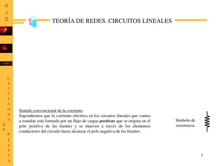 TEORÍA DE REDES. CIRCUITOS LINEALESSentido convencional de la corriente:Supondremos que la corriente eléctrica en los circ...