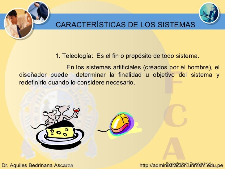 CARACTERÍSTICAS DE LOS SISTEMAS             1. Teleología: Es el fin o propósito de todo sistema.                 En los s...