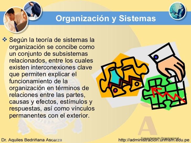 Organización y Sistemas Según la teoría de sistemas la  organización se concibe como  un conjunto de subsistemas  relacio...