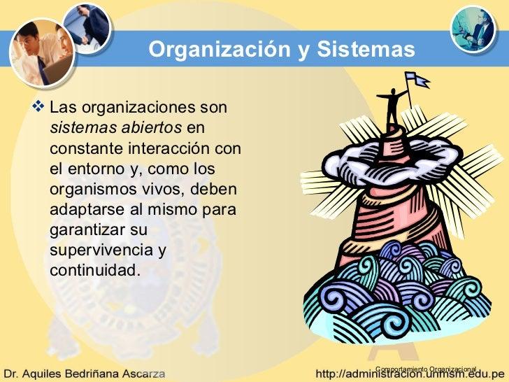 Organización y Sistemas Las organizaciones son  sistemas abiertos en  constante interacción con  el entorno y, como los  ...