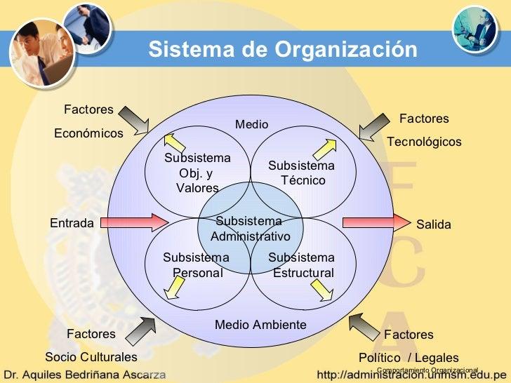 Sistema de Organización   Factores                                 Medio                           Factores Económicos    ...