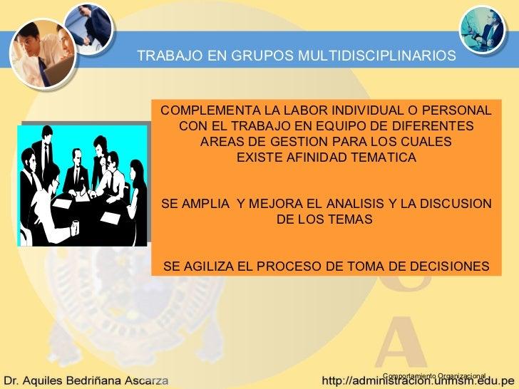TRABAJO EN GRUPOS MULTIDISCIPLINARIOS  COMPLEMENTA LA LABOR INDIVIDUAL O PERSONAL    CON EL TRABAJO EN EQUIPO DE DIFERENTE...