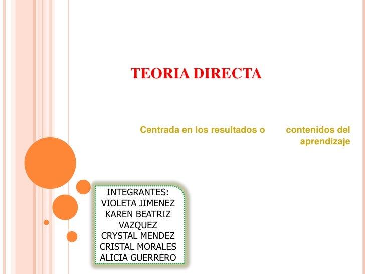 TEORIA DIRECTA       Centrada en los resultados o   contenidos del                                         aprendizaje INT...