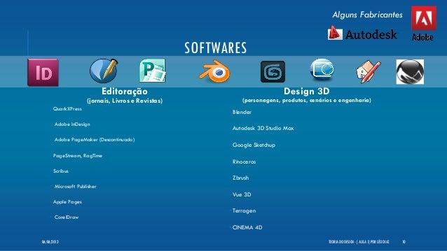 SOFTWARESEditoração(jornais, Livros e Revistas)• QuarkXPress• Adobe InDesign• Adobe PageMaker (Descontinuado)• PageStream,...