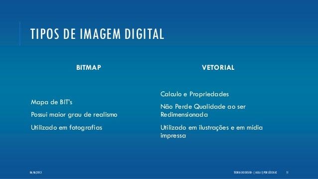 TIPOS DE IMAGEM DIGITALBITMAPMapa de BIT'sPossui maior grau de realismoUtilizado em fotografiasVETORIALCalculo e Proprieda...