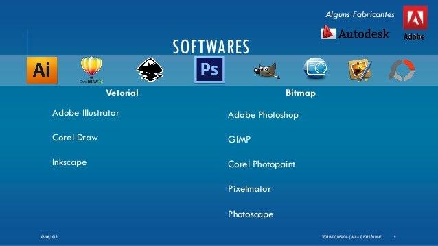 SOFTWARESVetorial•Adobe Illustrator•Corel Draw•InkscapeBitmap•Adobe Photoshop•GIMP•Corel Photopaint•Pixelmator•PhotoscapeT...