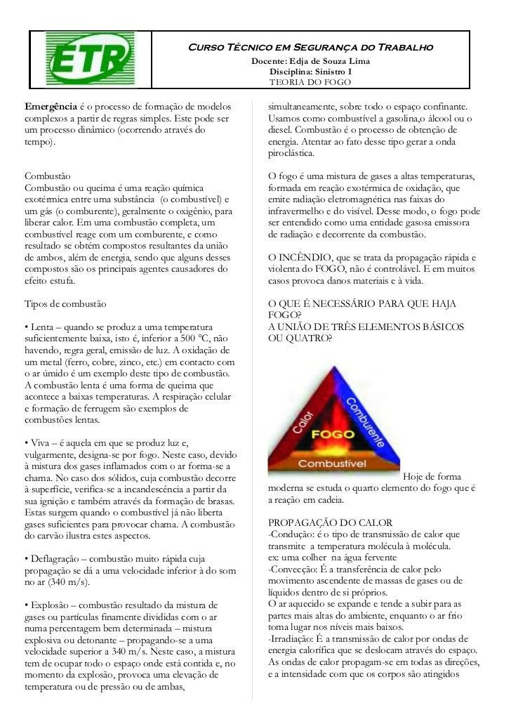 Curso Técnico em Segurança do Trabalho                                                         Docente: Edja de Souza Lima...