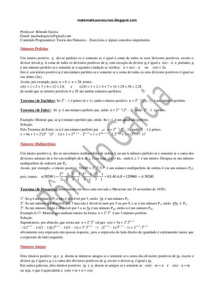 matematicaconcursos.blogspot.comProfessor: Rômulo GarciaEmail: machadogarcia@gmail.comConteúdo Programático: Teoria dos Nú...
