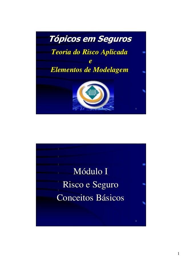 1 1 Tópicos em SegurosTópicos em Seguros TTeoria do Risco Aplicadaeoria do Risco Aplicada ee Elementos de ModelagemElement...