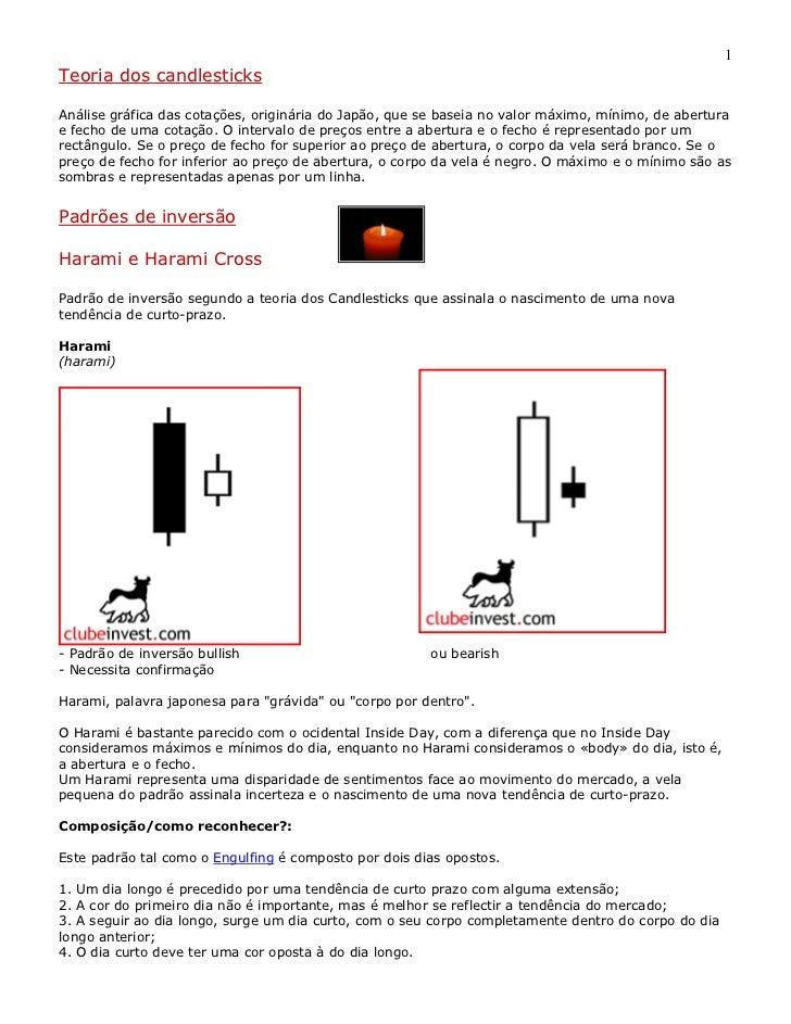 1Teoria dos candlesticksAnálise gráfica das cotações, originária do Japão, que se baseia no valor máximo, mínimo, de abert...