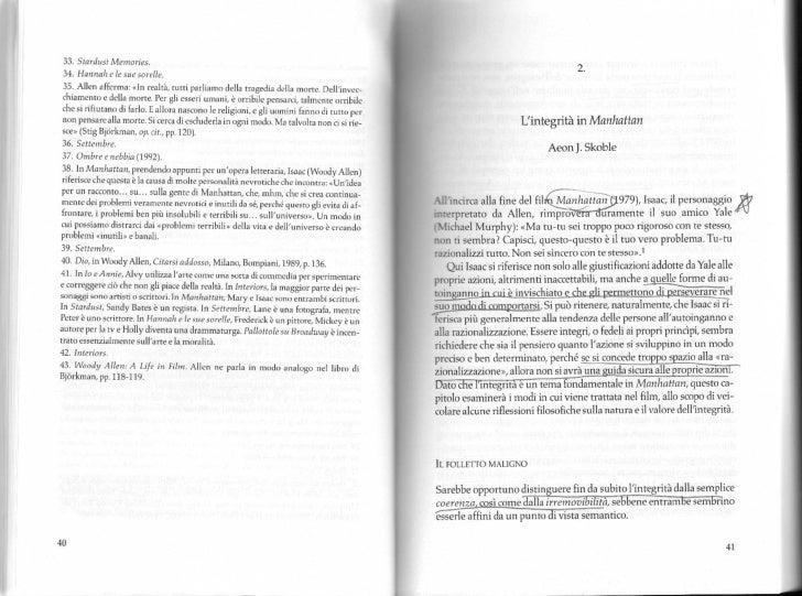 Teoria e analisi del cinema 8. integrita in manhattan   skoble wa e la filosofia