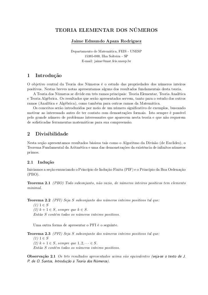 TEORIA ELEMENTAR DOS NÚMEROS                          Jaime Edmundo Apaza Rodriguez                          Departamento ...