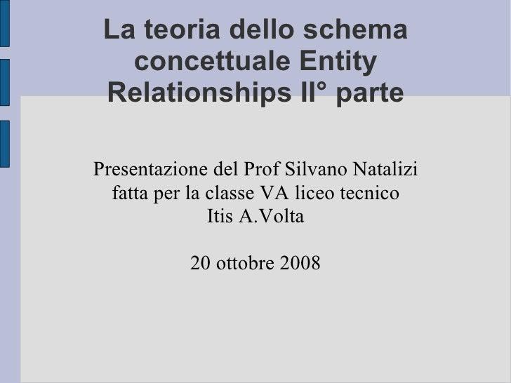 La teoria dello schema concettuale Entity Relationships II° parte Presentazione del Prof Silvano Natalizi fatta per la cla...