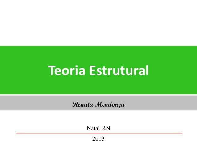 Teoria Estrutural Renata Mendonça Natal-RN 2013