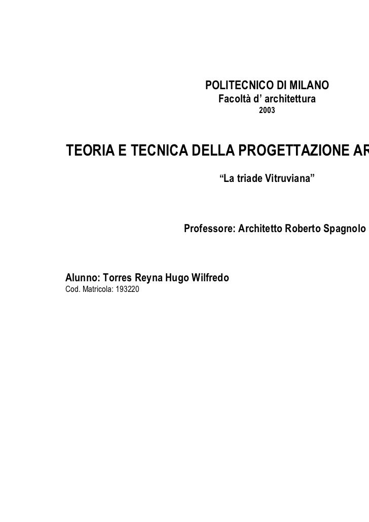 POLITECNICO DI MILANO                                Facoltà d' architettura                                         2003T...