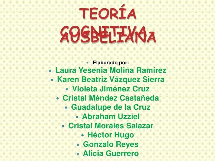 TEORÍA  COGNITIVA-  AUSBELIANA            Elaborado por: Laura Yesenia Molina Ramírez  Karen Beatriz Vázquez Sierra    ...