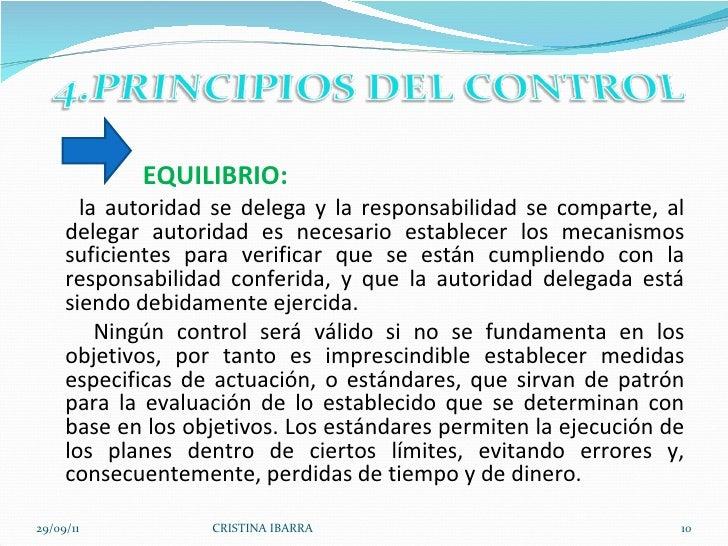<ul><li>EQUILIBRIO: </li></ul><ul><li>la autoridad se delega y la responsabilidad se comparte, al delegar autoridad es nec...
