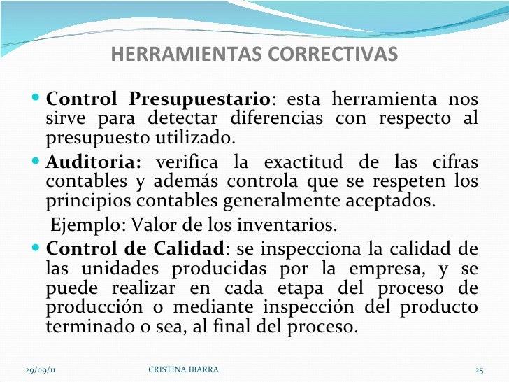 HERRAMIENTAS CORRECTIVAS <ul><li>Control Presupuestario : esta herramienta nos sirve para detectar diferencias con respect...