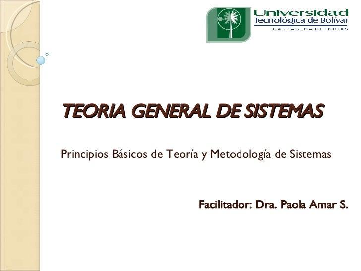 TEORIA GENERAL DE SISTEMAS Principios Básicos de Teoría y Metodología de Sistemas Facilitador: Dra. Paola Amar S.