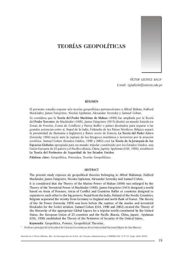 TEORÍAS GEOPOLÍTICAS                                                                                                      ...