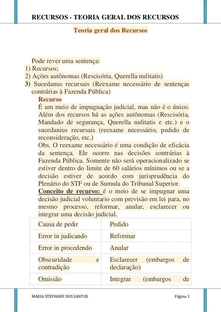 RECURSOS - TEORIA GERAL DOS RECURSOS                    Teoria geral dos Recursos   Pode rever uma sentença:1) Recursos;2)...