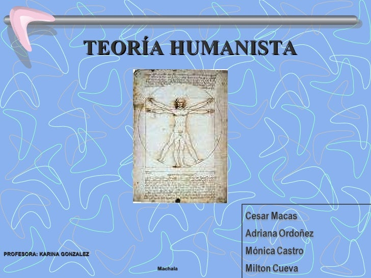 TEORÍA HUMANISTA Machala  PROFESORA: KARINA GONZALEZ