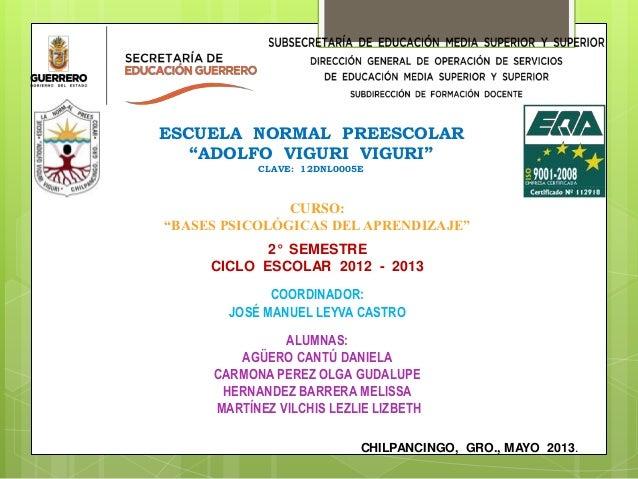 """ESCUELA NORMAL PREESCOLAR""""ADOLFO VIGURI VIGURI""""CLAVE: 12DNL0005ECURSO:""""BASES PSICOLÓGICAS DELAPRENDIZAJE""""2° SEMESTRECICLO ..."""