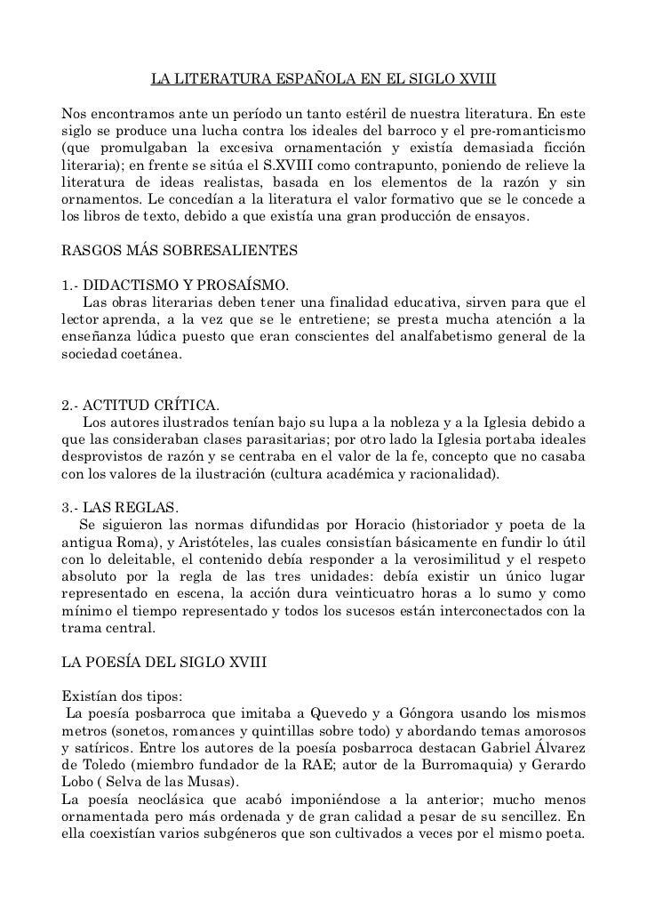 LA LITERATURA ESPAÑOLA EN EL SIGLO XVIIINos encontramos ante un período un tanto estéril de nuestra literatura. En estesig...