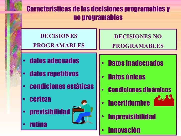 Características de las decisiones programables y no programables <ul><li>datos adecuados </li></ul><ul><li>datos repetitiv...