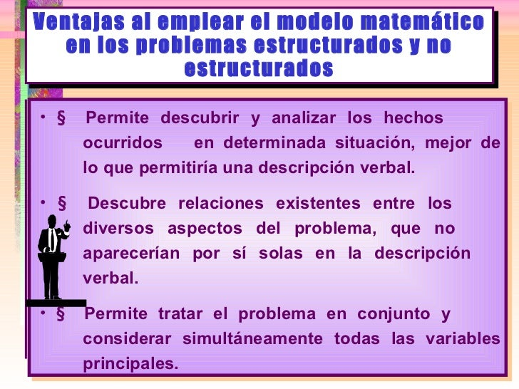 Ventajas al emplear el modelo matemático en los problemas estructurados y no estructurados <ul><li>   Permite descubrir y...