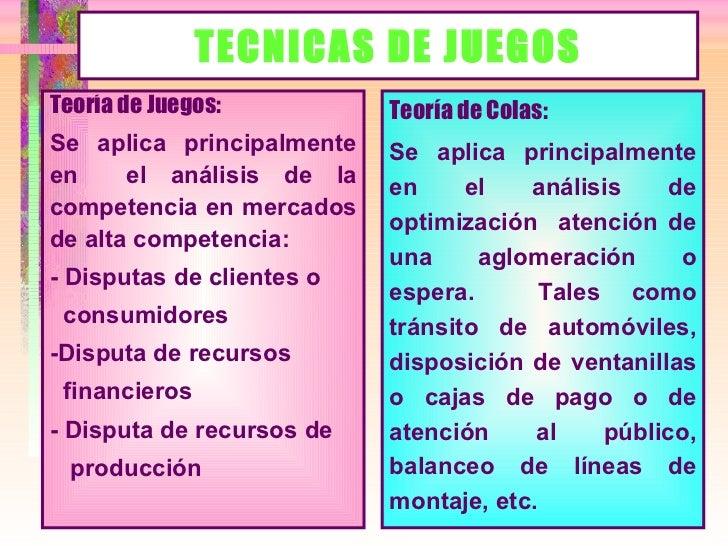 TECNICAS DE JUEGOS <ul><li>Teoría de Colas: </li></ul><ul><li>Se aplica principalmente en el análisis de optimización  ate...
