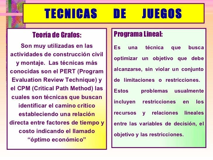 TECNICAS  DE  JUEGOS <ul><li>Programa Lineal: </li></ul><ul><li>Es una técnica que busca optimizar un objetivo que debe al...
