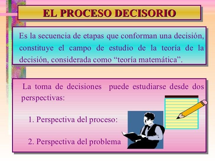 EL PROCESO DECISORIO Es la secuencia de etapas que conforman una decisión, constituye el campo de estudio de la teoría de ...