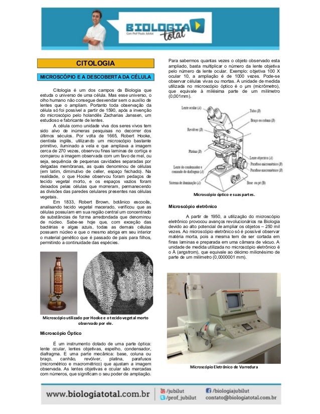 CITOLOGIA MICROSCÓPIO E A DESCOBERTA DA CÉLULA Citologia é um dos campos da Biologia que estuda o universo de uma célula. ...