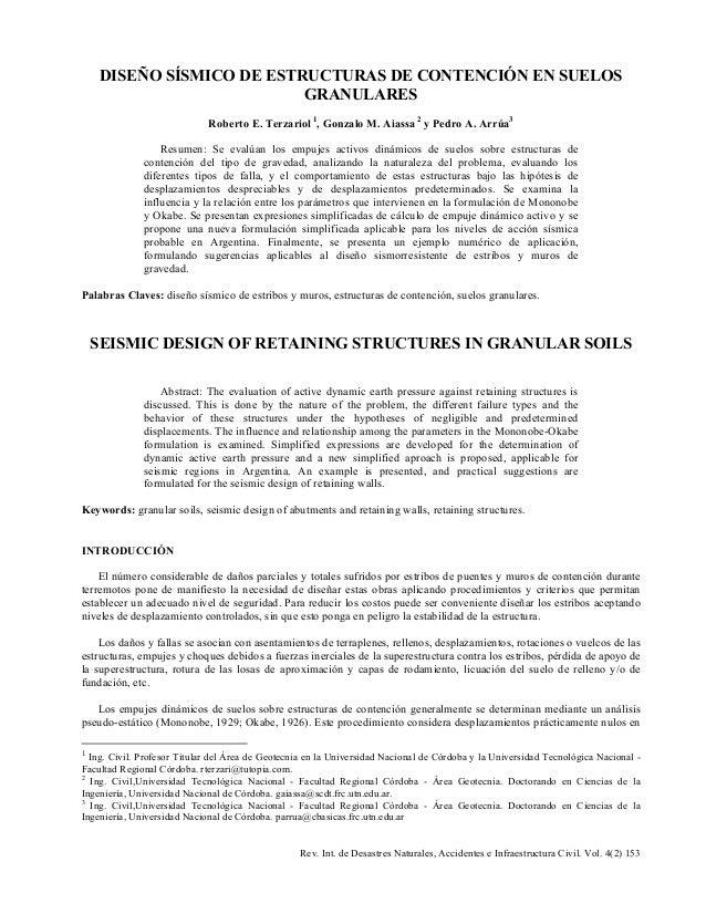 Rev. Int. de Desastres Naturales, Accidentes e Infraestructura Civil. Vol. 4(2) 153 DISEÑO SÍSMICO DE ESTRUCTURAS DE CONTE...