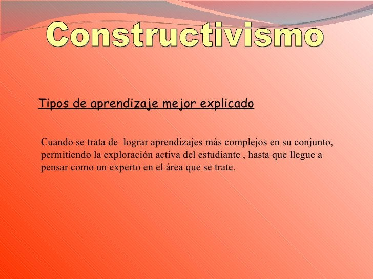 Constructivismo Tipos de aprendizaje mejor explicado Cuando se trata de  lograr aprendizajes más complejos en su conjunto,...
