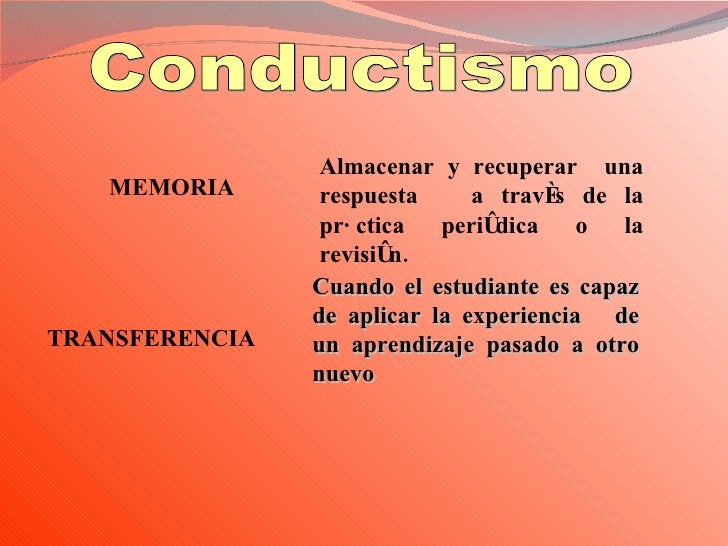 Conductismo MEMORIA Almacenar y recuperar  una respuesta  a través de la práctica periódica o la revisión. TRANSFERENCIA  ...