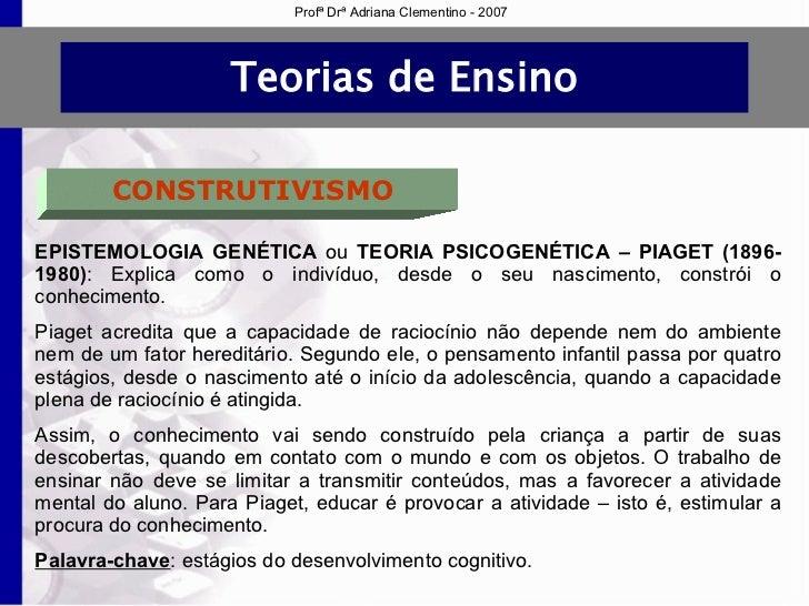 84206c4ca7a Profª Drª Adriana Clementino - 2007  8. Teorias de Ensino CONSTRUTIVISMO ...