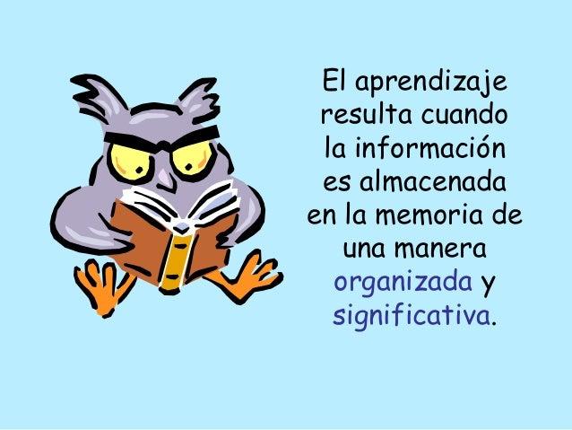 El aprendizaje resulta cuando la información es almacenada en la memoria de una manera organizada y significativa.