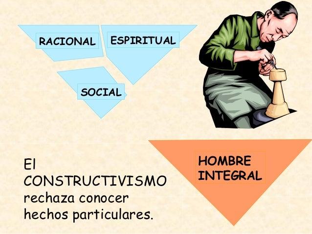 RACIONAL ESPIRITUAL SOCIAL HOMBRE INTEGRAL El CONSTRUCTIVISMO rechaza conocer hechos particulares.