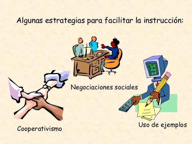 Algunas estrategias para facilitar la instrucción: Cooperativismo Negociaciones sociales Uso de ejemplos