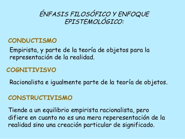 ÉNFASIS FILOSÓFICO Y ENFOQUE EPISTEMOLÓGICO: Empirista, y parte de la teoría de objetos para la representación de la reali...