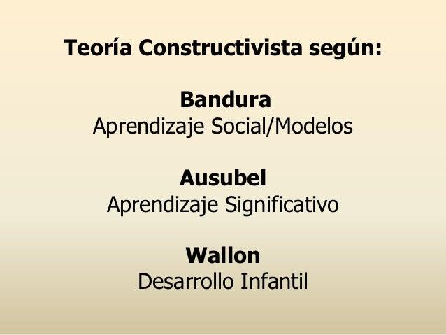 Teoría Constructivista según:          Bandura  Aprendizaje Social/Modelos          Ausubel   Aprendizaje Significativo   ...