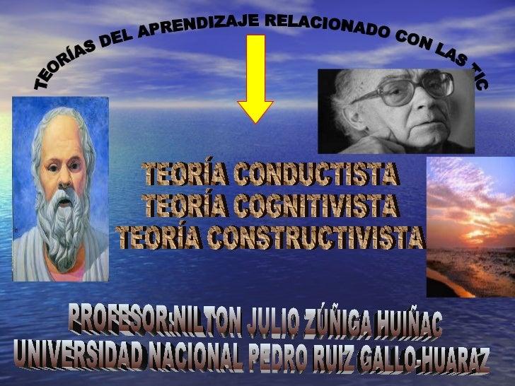 PROFESOR:NILTON JULIO ZÚÑIGA HUIÑAC UNIVERSIDAD NACIONAL PEDRO RUIZ GALLO-HUARAZ TEORÍA CONDUCTISTA TEORÍA COGNITIVISTA TE...