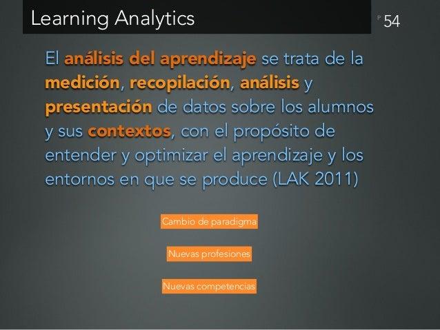 P 55 Learning Analytics Academic Analytics Educational Data Mining (EDM) Comprender cómo los estudiantes aprenden y optimi...
