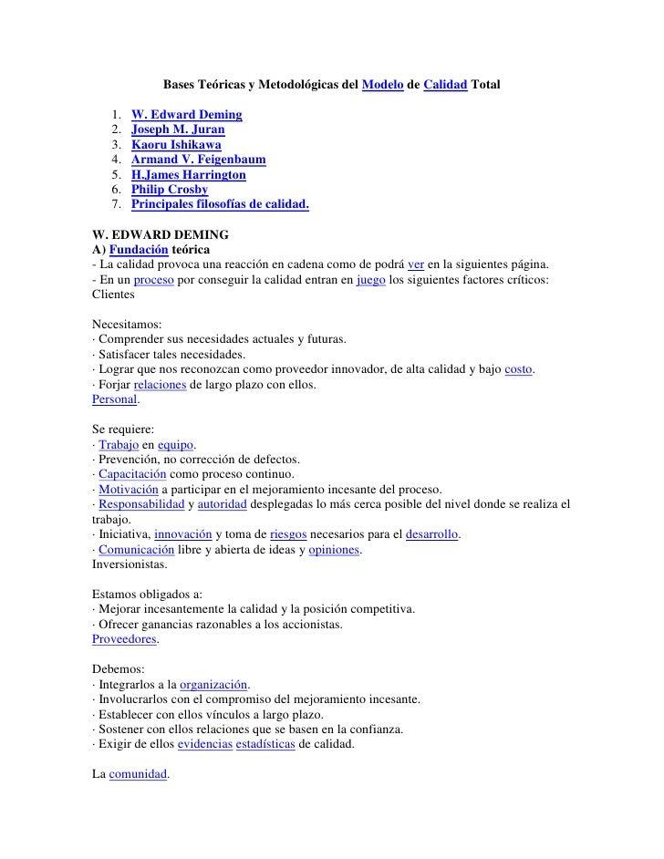 Bases Teóricas y Metodológicas del Modelo de Calidad Total<br />W. Edward Deming<br />Joseph M. Juran<br />Kaoru Ishikawa<...