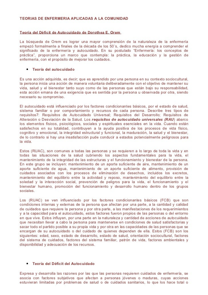 TEORIAS DE ENFERMERIA APLICADAS A LA COMUNIDADTeoría del Déficit de Autocuidado de Dorothea E. OremLa búsqueda de Orem es ...