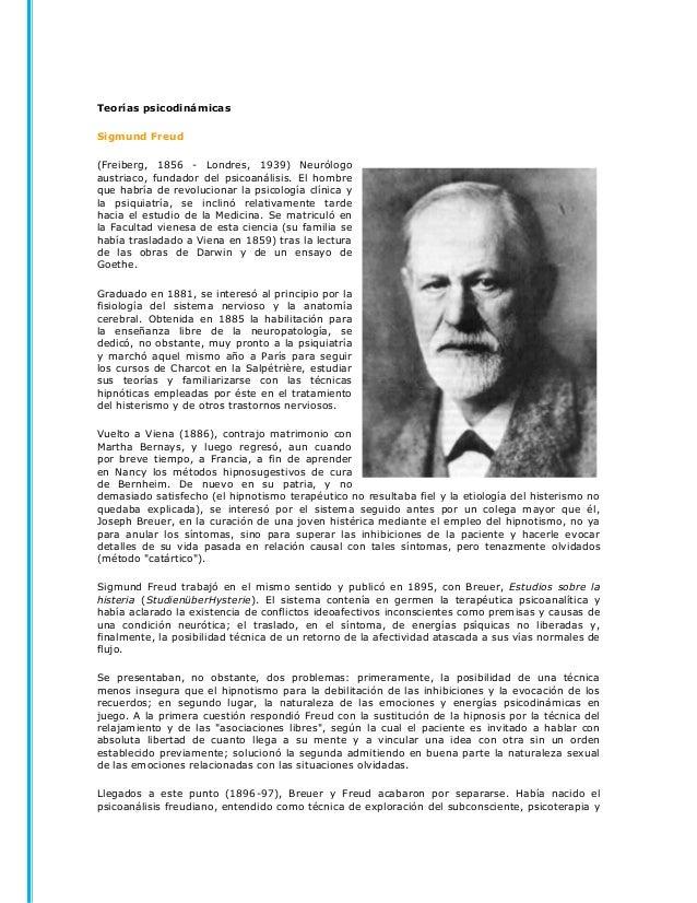 Teorías psicodinámicasSigmund Freud(Freiberg, 1856 - Londres, 1939) Neurólogoaustriaco, fundador del psicoanálisis. El hom...
