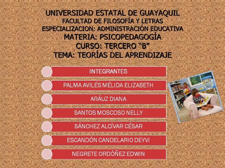 UNIVERSIDAD ESTATAL DE GUAYAQUIL FACULTAD DE FILOSOFÍA Y LETRAS ESPECIALIZACION: ADMINISTRACIÓN EDUCATIVA MATERIA: PSICOPE...