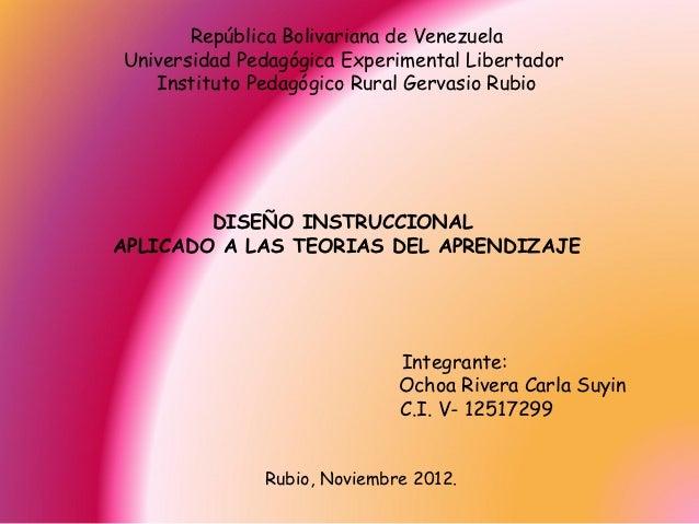 República Bolivariana de VenezuelaUniversidad Pedagógica Experimental Libertador   Instituto Pedagógico Rural Gervasio Rub...